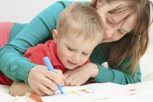 mother and son drawing family