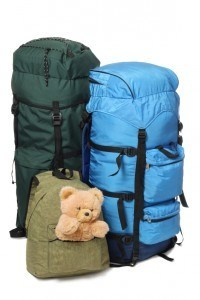 Two big backpacks and children's bag with toy